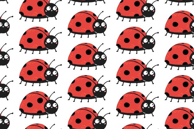 Naadloos patroon met schattige lieveheersbeestjes met grappige verbaasde ogen.