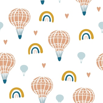 Naadloos patroon met schattige luchtballon regenboog