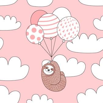 Naadloos patroon met schattige luiaard met ballonnen.