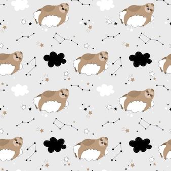 Naadloos patroon met schattige luiaards op de wolken