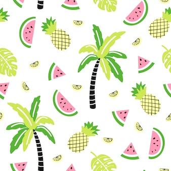 Naadloos patroon met schattige palm, watermeloen, ananas