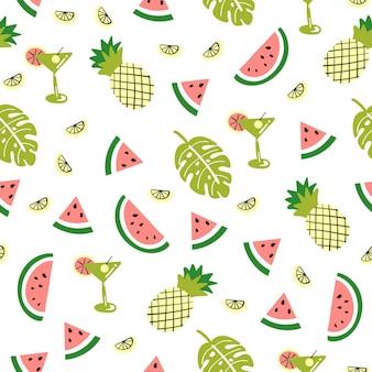 Naadloos patroon met schattige palmwatermeloenananas