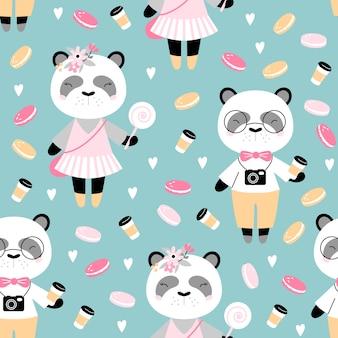 Naadloos patroon met schattige panda met koffie en gebak.