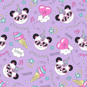 Naadloos patroon met schattige panda