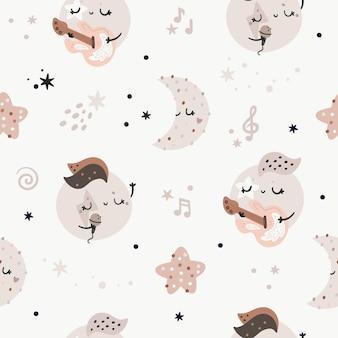 Naadloos patroon met schattige planeten, sterren en manen. kinderachtige rock and roll muziek textuur, pastelkleuren