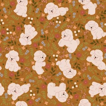 Naadloos patroon met schattige poedels en bloemen