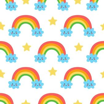 Naadloos patroon met schattige regenboog en wolken