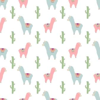 Naadloos patroon met schattige roze en blauwe lama's en cactussen