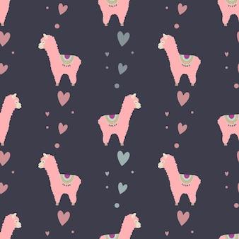 Naadloos patroon met schattige roze lama en harten voor inpakpapier voor kinderdesigntextiel