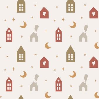 Naadloos patroon met schattige scandinavische huizen maan en sterren