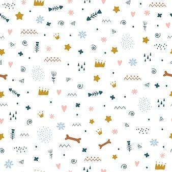 Naadloos patroon met schattige scandinavische stijldetails.