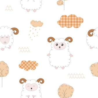 Naadloos patroon met schattige schapen.