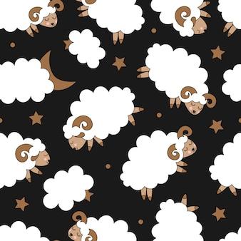 Naadloos patroon met schattige schapen