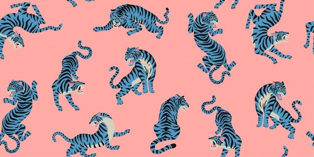 Naadloos patroon met schattige tijgers