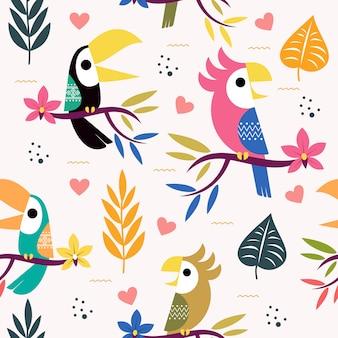 Naadloos patroon met schattige toekan en papegaai.