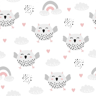 Naadloos patroon met schattige uil
