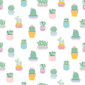 Naadloos patroon met schattige vetplanten in potten.