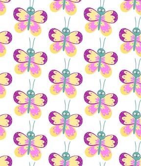 Naadloos patroon met schattige vlinders met grappige verbaasde ogen.