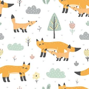 Naadloos patroon met schattige vossen - moeder en baby. geweldig voor stof en textiel