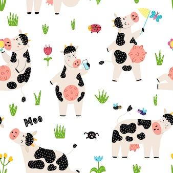 Naadloos patroon met schattige vossen - moeder en baby. geweldig voor stof- en textielontwerp. Premium Vector