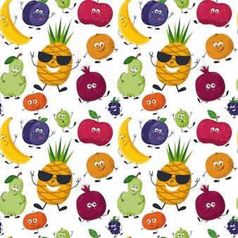 Naadloos patroon met schattige vruchten