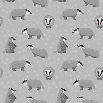 Naadloos patroon met schattige wasbeer en verschillende elementen.