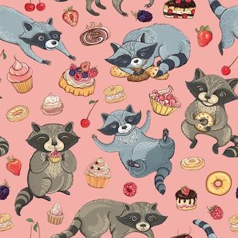 Naadloos patroon met schattige wasberen, cakes en bessen
