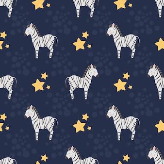 Naadloos patroon met schattige zebra's en sterren op een donkere achtergrond voor designtextiel voor kinderen