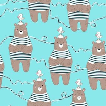 Naadloos patroon met schattige zeeman beer.