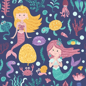 Naadloos patroon met schattige zeemeerminnen, zeewier en vissen