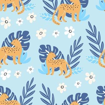 Naadloos patroon met schattige zomerbladeren en luipaard