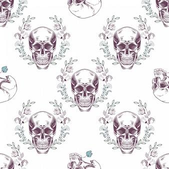 Naadloos patroon met schedels en bloemen op een witte achtergrond.