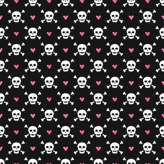 Naadloos patroon met schedels en schitterende harten.
