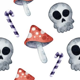 Naadloos patroon met schedels en vliegenzwammen op halloween