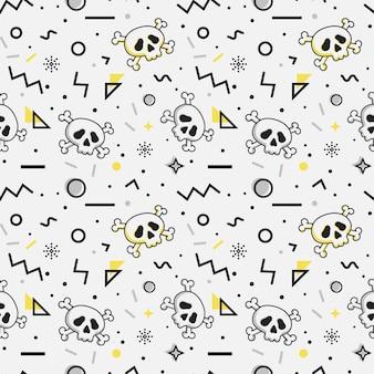 Naadloos patroon met schedels. memphis-stijl.