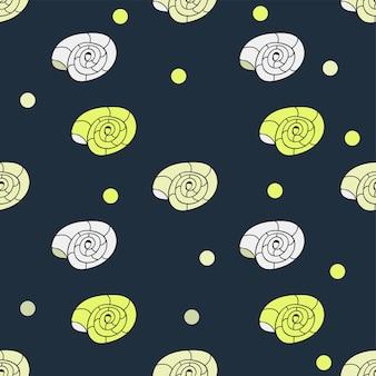 Naadloos patroon met schelpen. vector illustratie. cartoon doodle handgetekende stijl