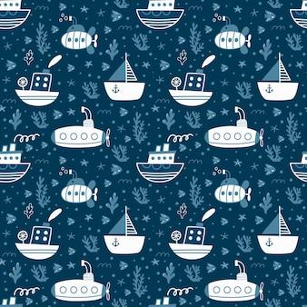 Naadloos patroon met schepen en onderzeeërs