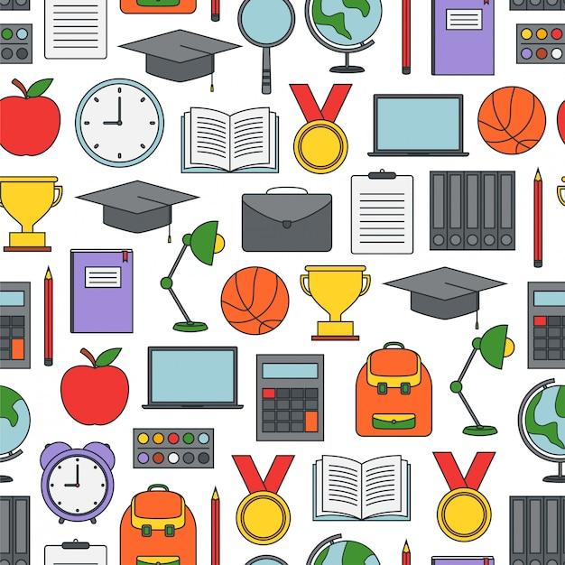 Naadloos patroon met schoolbenodigdheden