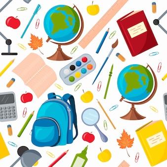 Naadloos patroon met schoolspullen