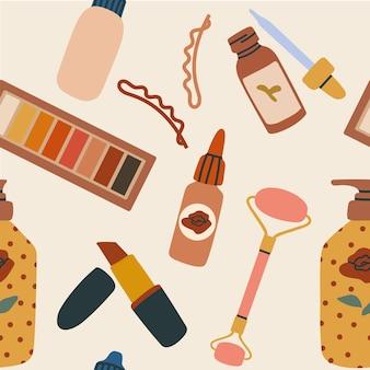 Naadloos patroon met schoonheidsproducten voor make-up en huidverzorging