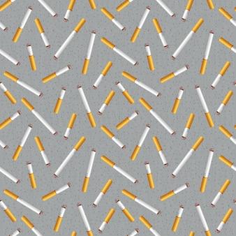 Naadloos patroon met sigarettenpeuken en as