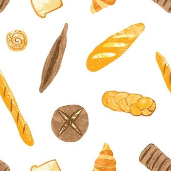 Naadloos patroon met smakelijke broden, dessertgebak, gebakken producten of bakkerijproducten van verschillende types op wit. kleurrijke illustratie voor stoffenprint, achtergrond, inpakpapier
