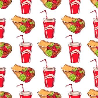 Naadloos patroon met smakelijke burrito's en drankjes