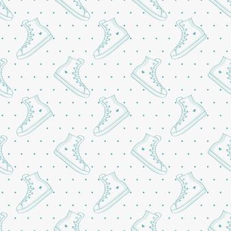 Naadloos patroon met sneakers en polka dot. delicate achtergrond met handgetekende schoenen.