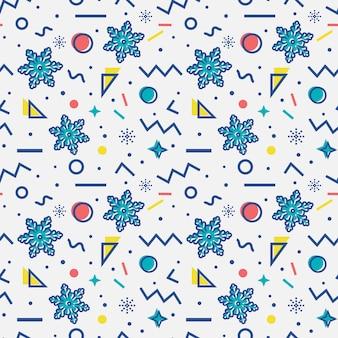 Naadloos patroon met sneeuwvlokken. memphis-stijl. .
