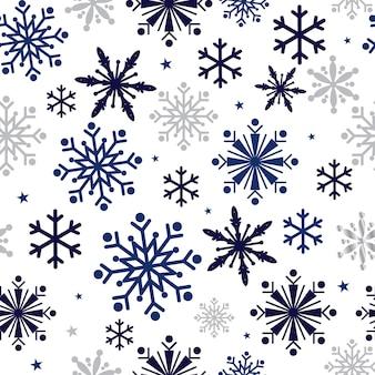 Naadloos patroon met sneeuwvlokkenachtergrond