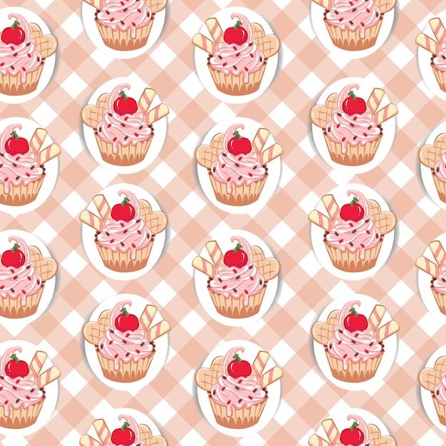 Naadloos patroon met snoepjes cupcakes