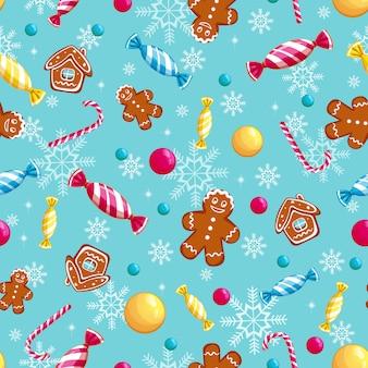 Naadloos patroon met snoepjes