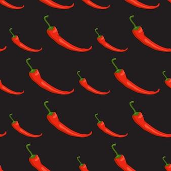 Naadloos patroon met spaanse pepers. levendige print met roodgloeiende groenten
