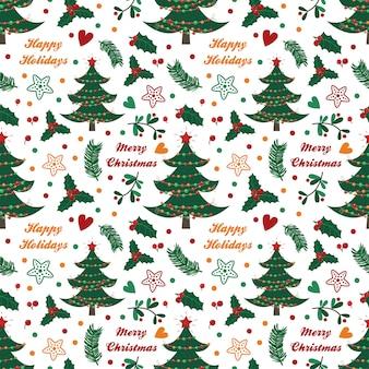 Naadloos patroon met sparren, bessen, bladeren en takjes op witte achtergrond